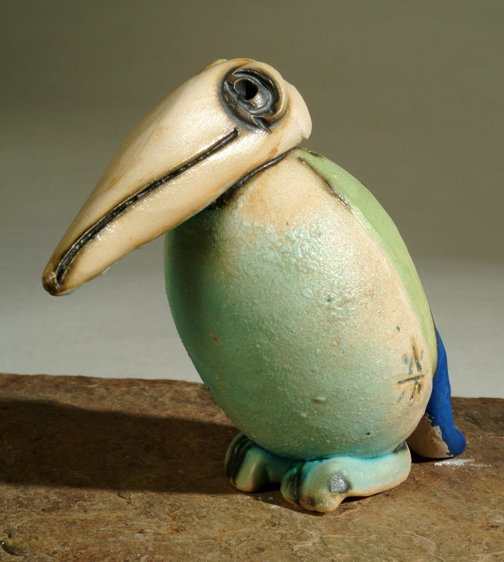 Kerámia figura, kiwi madár.