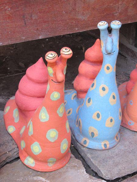 Kerámia csiga figurák