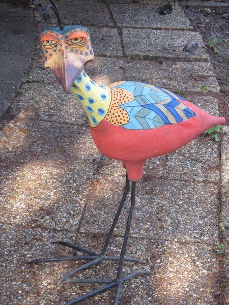 Kerámia madár szobor kovácsoltvas lábbal