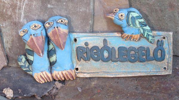Kerámia tábla kék madarakkal