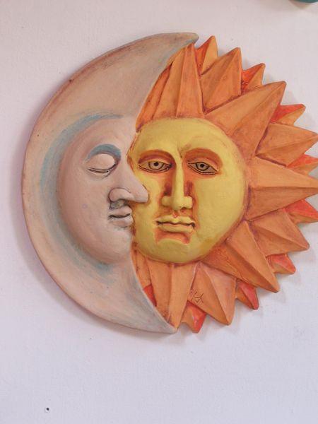 Kerámia falikép - Nap és hold