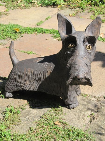 Kerámia kutya szobor - skót terrier