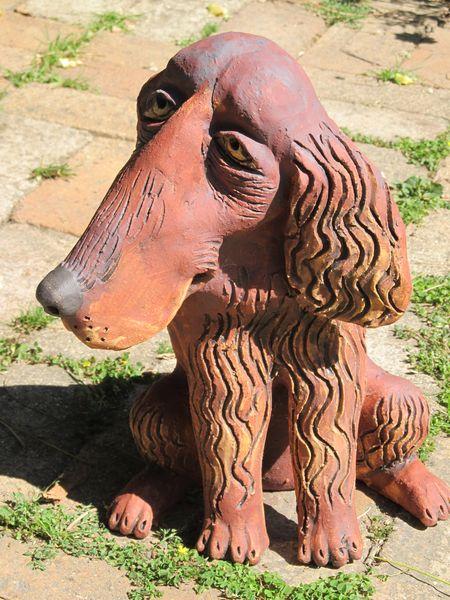 Kerámia kutya szobor - írszetter