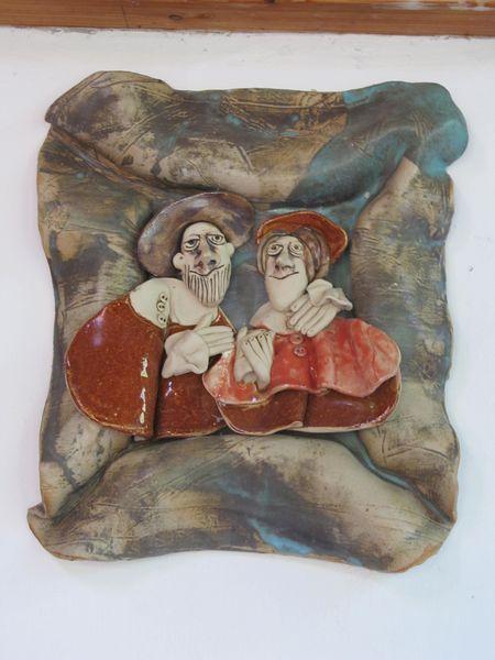 Kerámia falikép páros portréval
