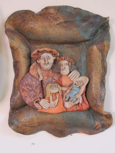 Kerámia falikép - családi portré reneszánsz hangulatban
