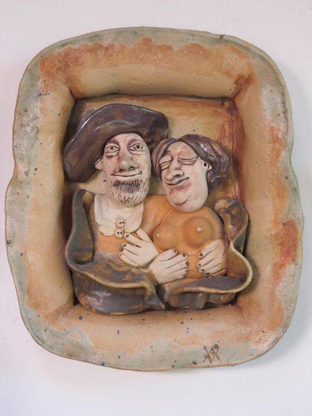 Kerámai falikép - szerelmetes pár