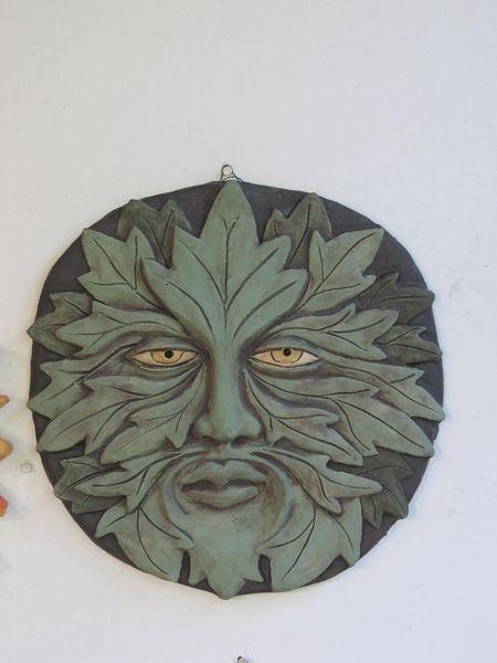 Kerámia falikép - zöld ember